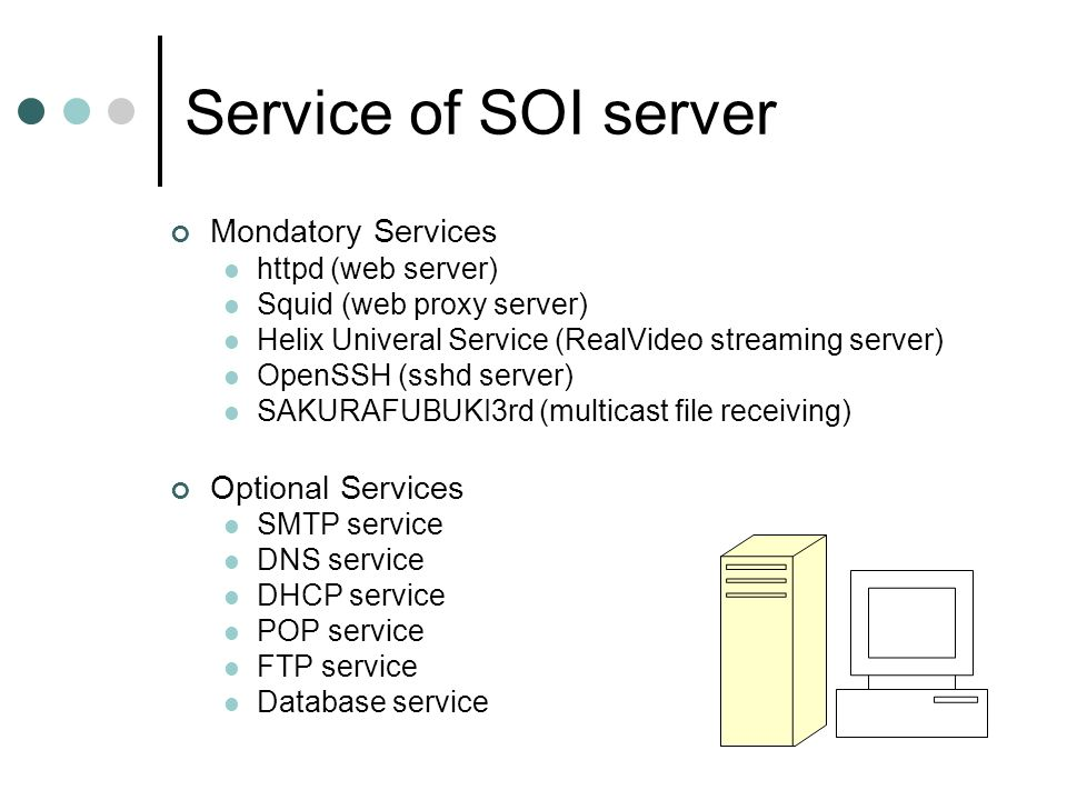 Service of SOI server Mondatory Services Optional Services