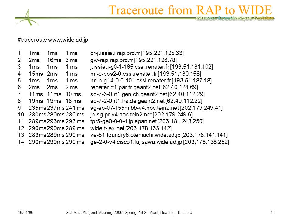 Traceroute from RAP to WIDE