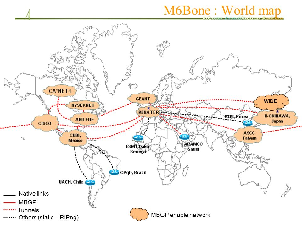 M6Bone : World map Native links MBGP Tunnels MBGP enable network
