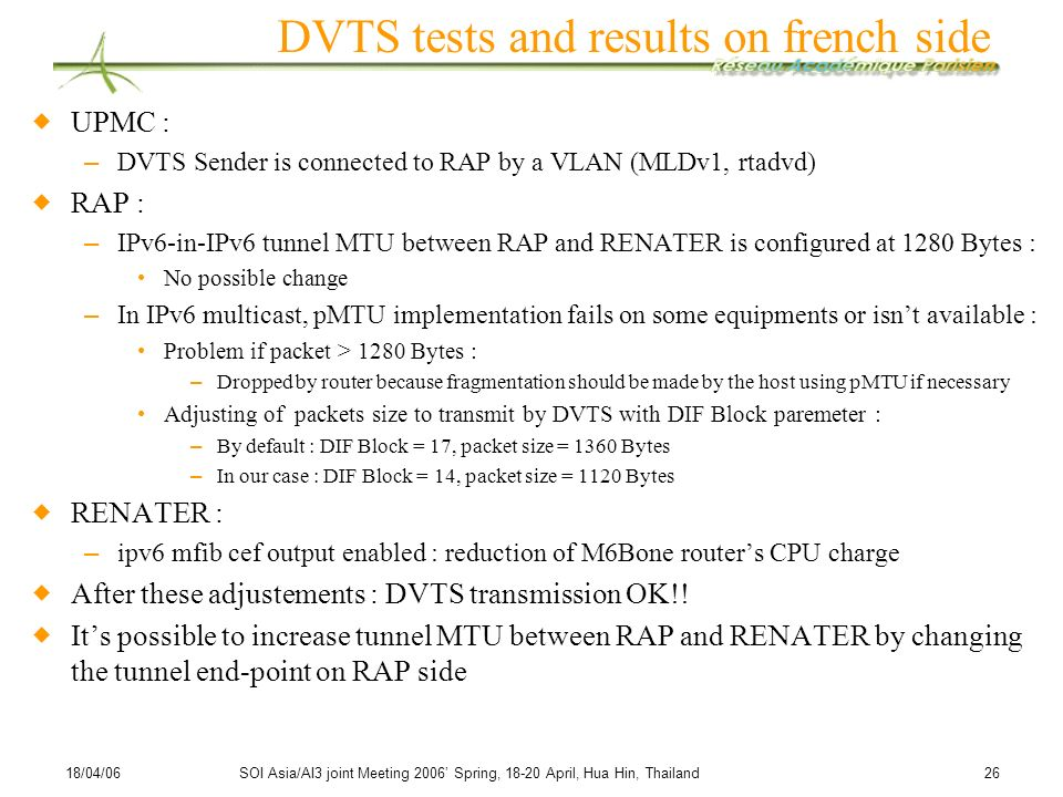 DVTS tests and results on french side