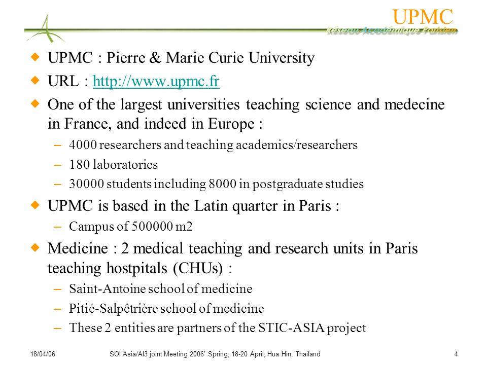 UPMC UPMC : Pierre & Marie Curie University URL : http://www.upmc.fr