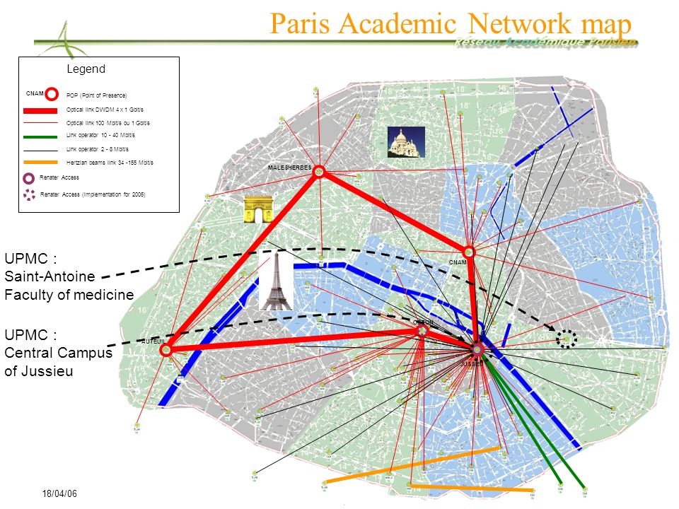 Paris Academic Network map