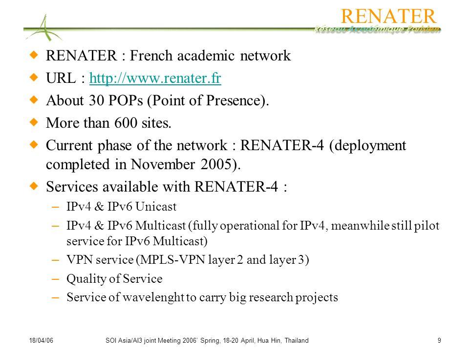 RENATER RENATER : French academic network URL : http://www.renater.fr