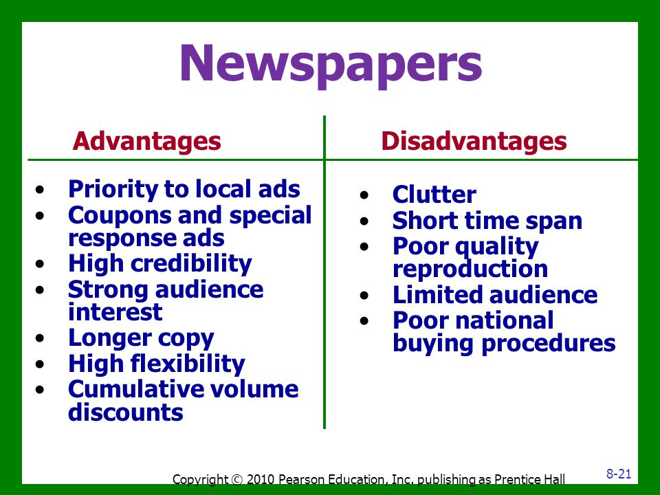 advantages and disadvantages of newspaper
