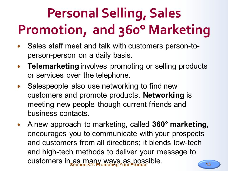 Personal Selling, Sales Promotion, and 360° Marketing