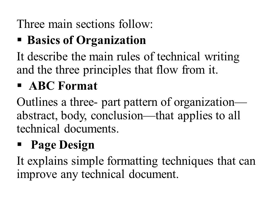 abc format of technical writing Technical writing definition: • technical writing is your act of communicating, through writing, whatever you think and feel about your job, business, industry.