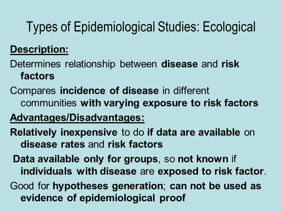 3 types of epidemiology studies the relationship