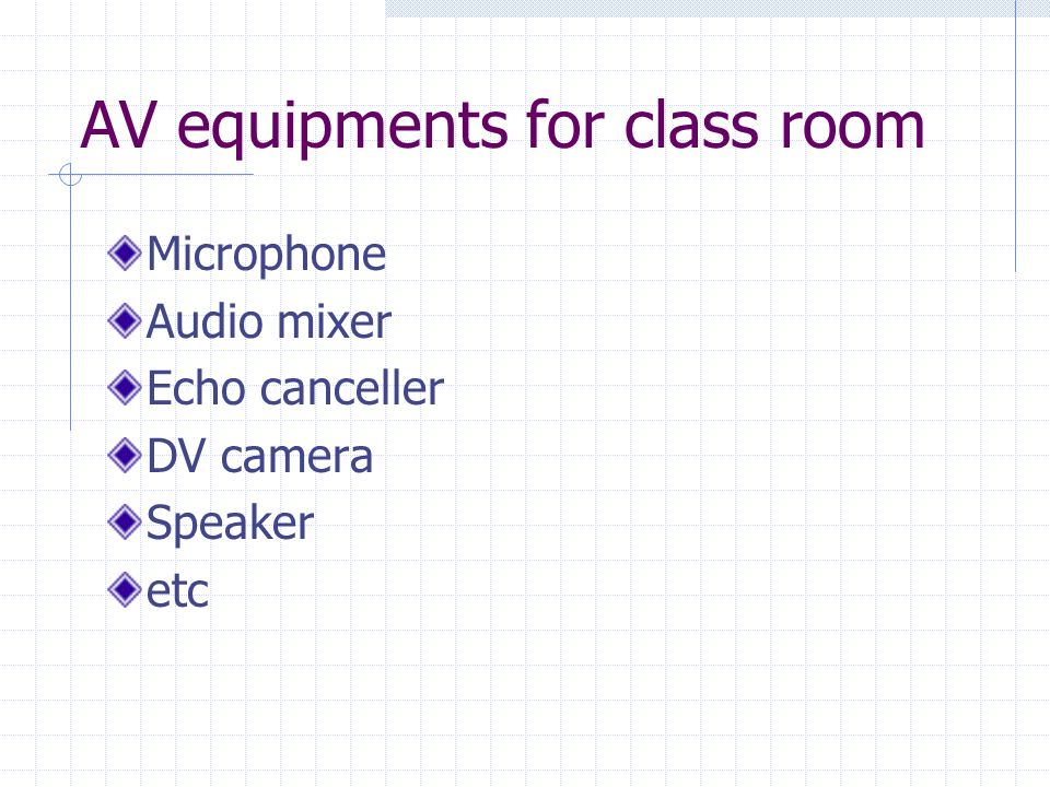 AV equipments for class room