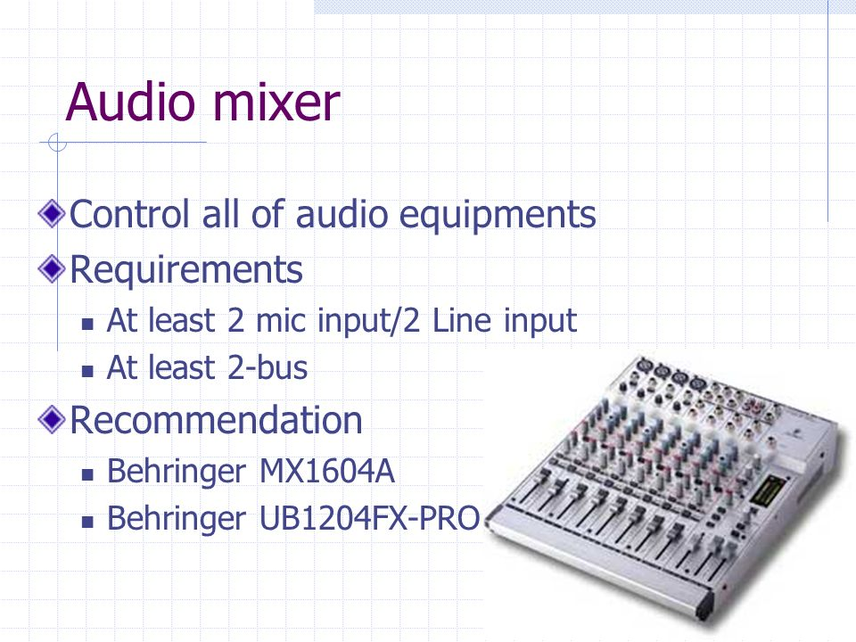 Audio mixer Control all of audio equipments Requirements