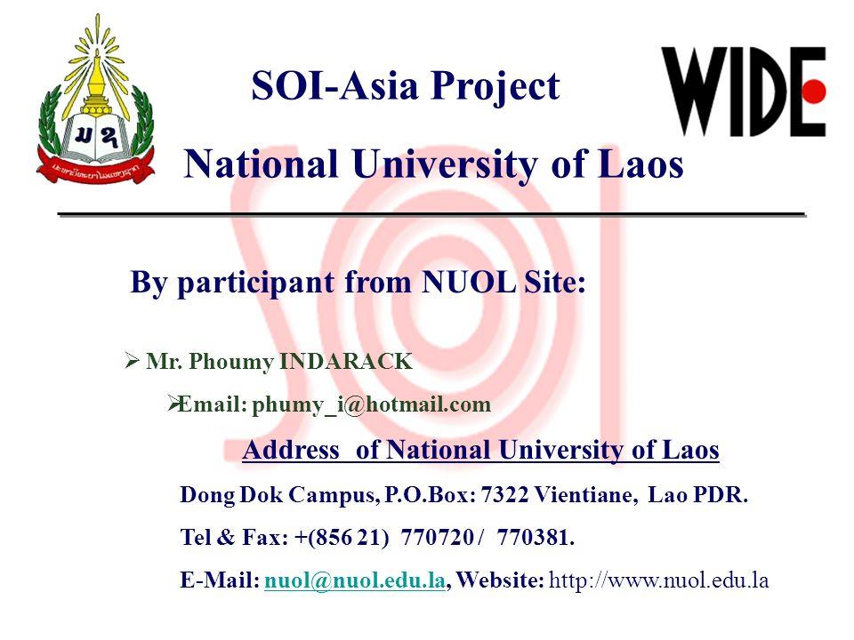 National University of Laos Address of National University of Laos
