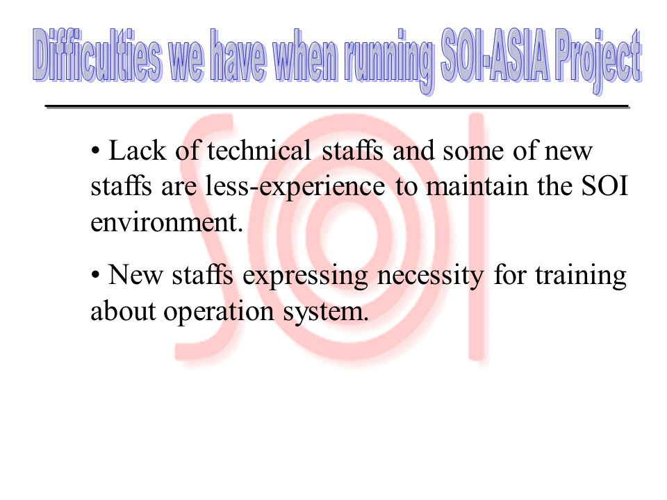 Difficulties we have when running SOI-ASIA Project