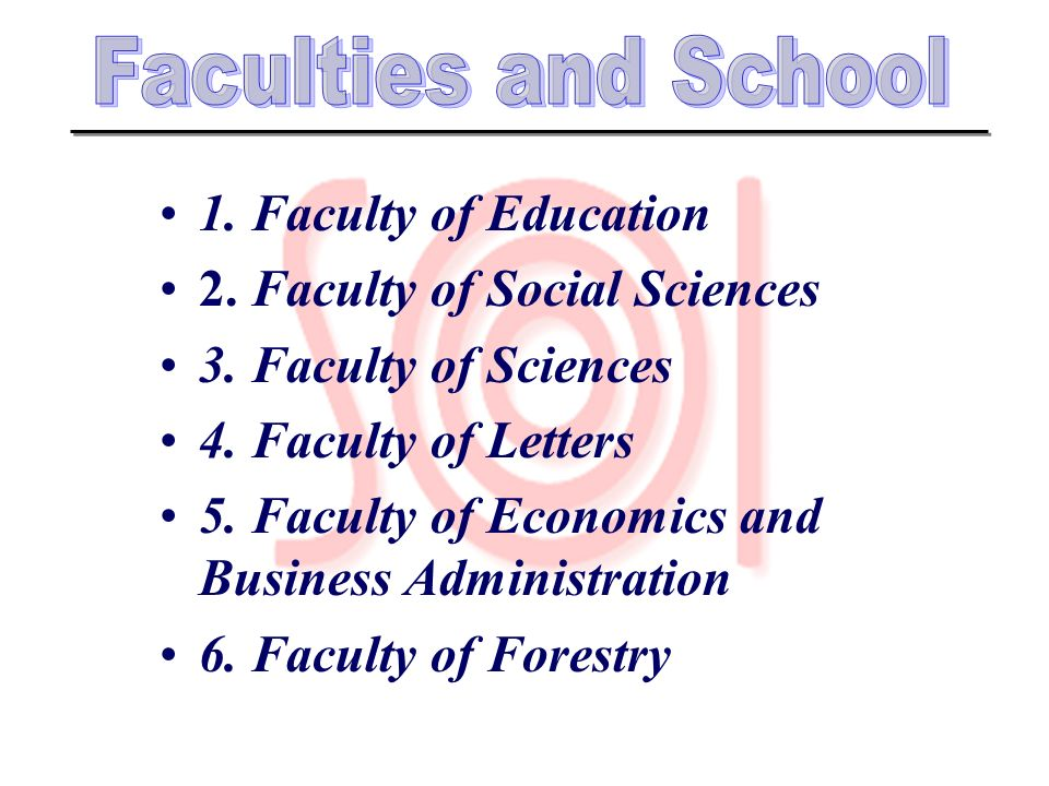 Faculties and School 1. Faculty of Education. 2. Faculty of Social Sciences. 3. Faculty of Sciences.