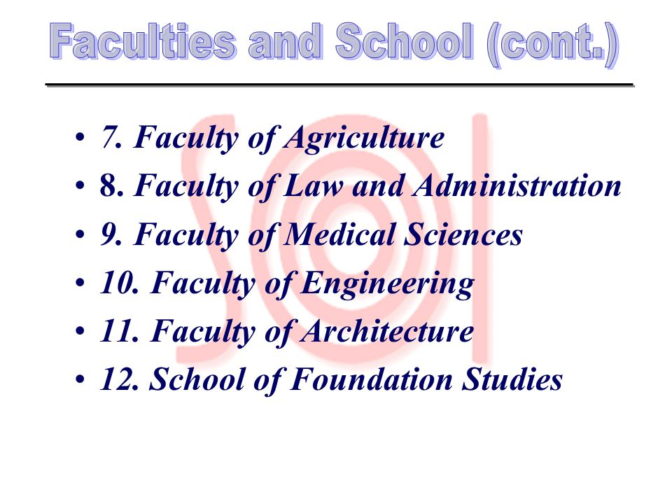 Faculties and School (cont.)