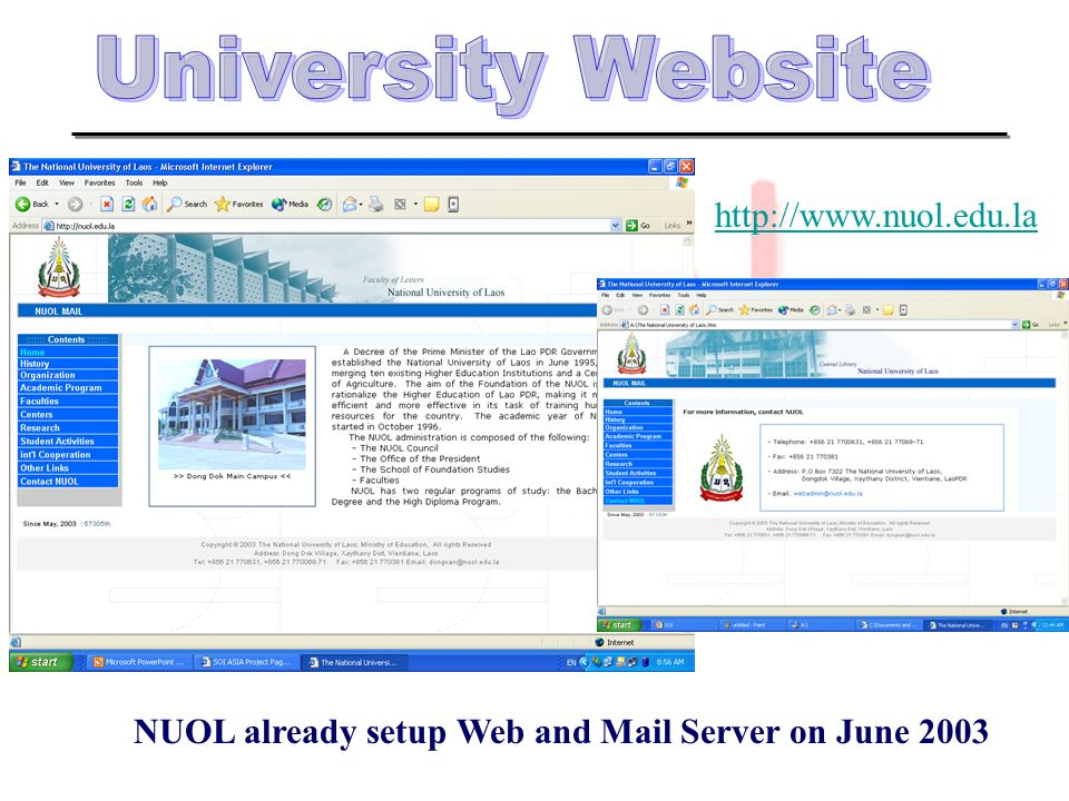NUOL already setup Web and Mail Server on June 2003