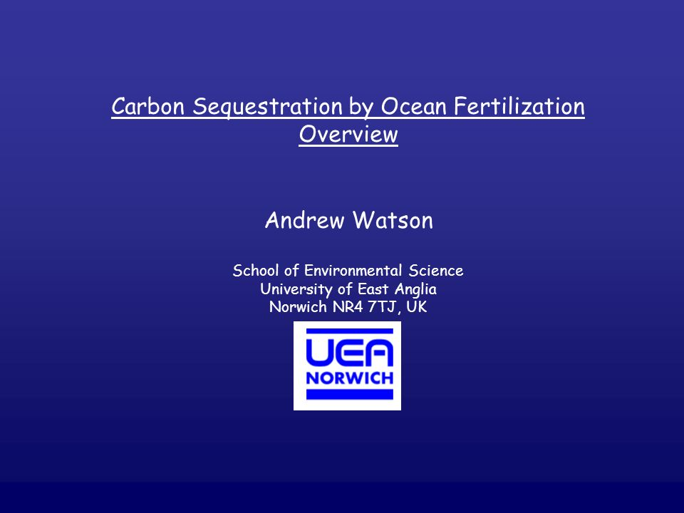 Carbon Sequestration by Ocean Fertilization Overview