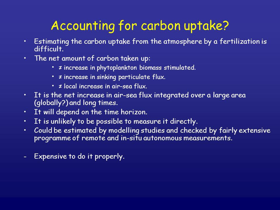 Accounting for carbon uptake