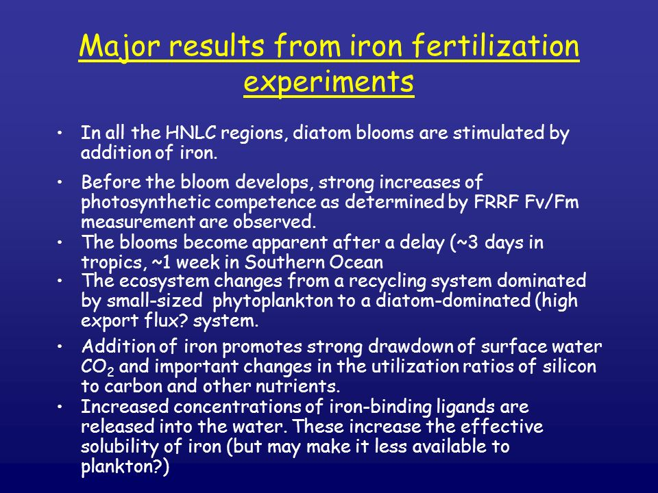 Major results from iron fertilization experiments