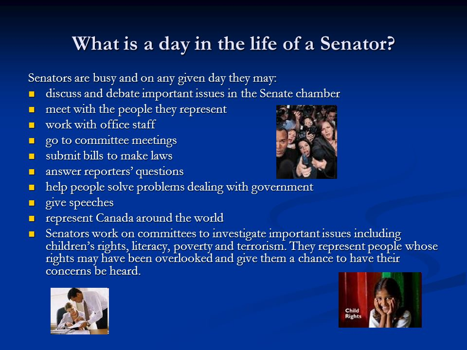 What is a day in the life of a Senator