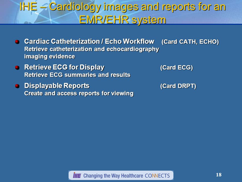 IHE – Cardiology images and reports for an EMR/EHR system