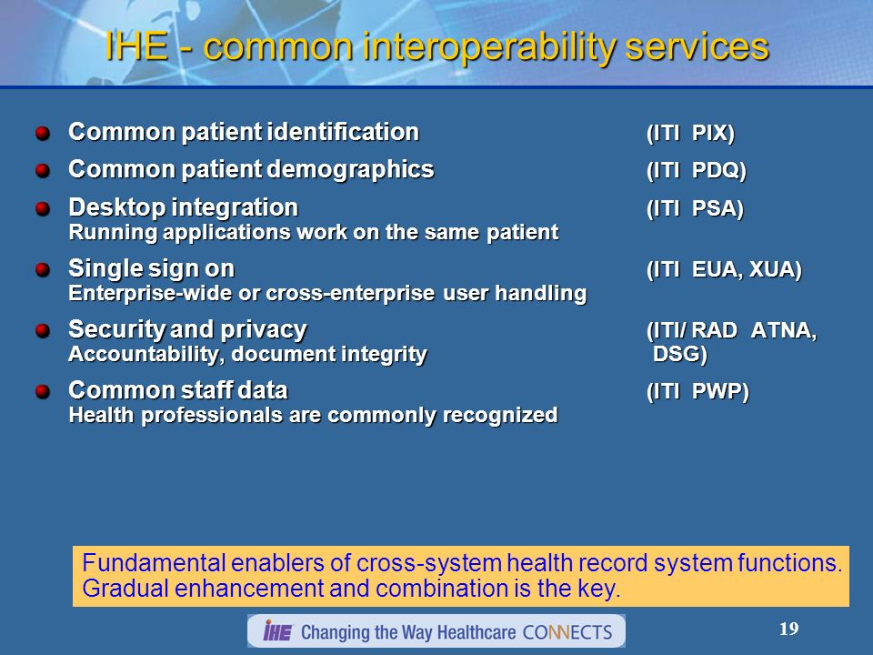 IHE - common interoperability services