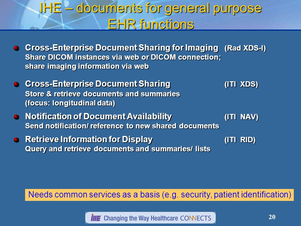 IHE – documents for general purpose EHR functions