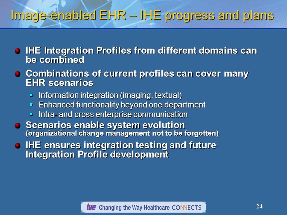 Image-enabled EHR – IHE progress and plans