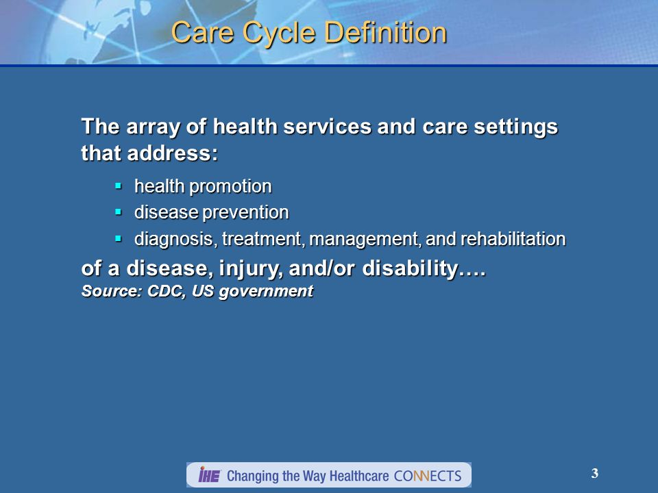 Care Cycle Definition The array of health services and care settings that address: health promotion.