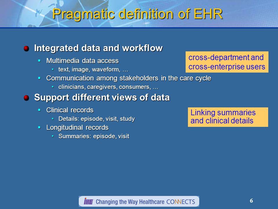 Pragmatic definition of EHR
