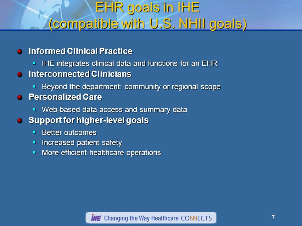 EHR goals in IHE (compatible with U.S. NHII goals)