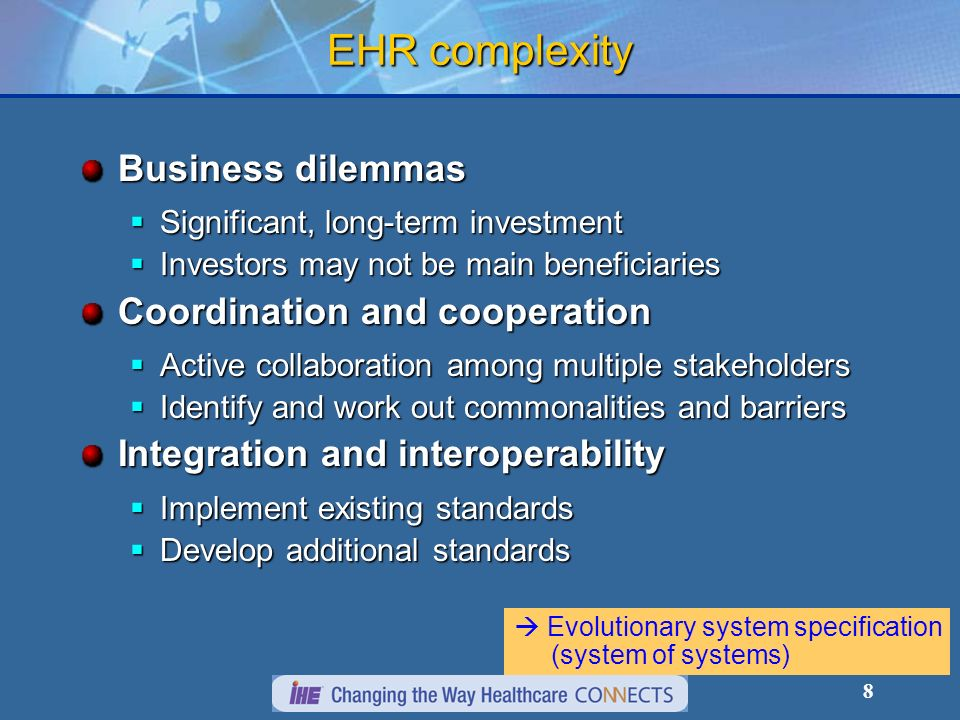 EHR complexity Business dilemmas Coordination and cooperation