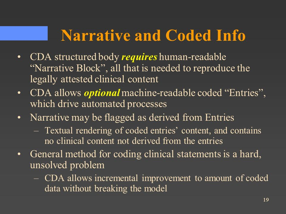 Narrative and Coded Info