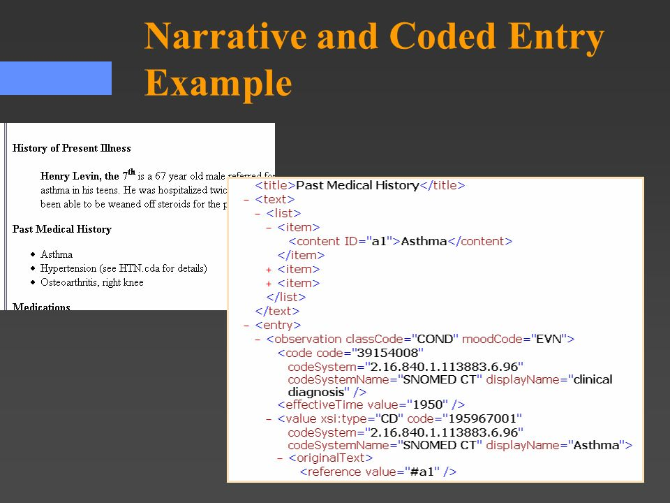 Narrative and Coded Entry Example
