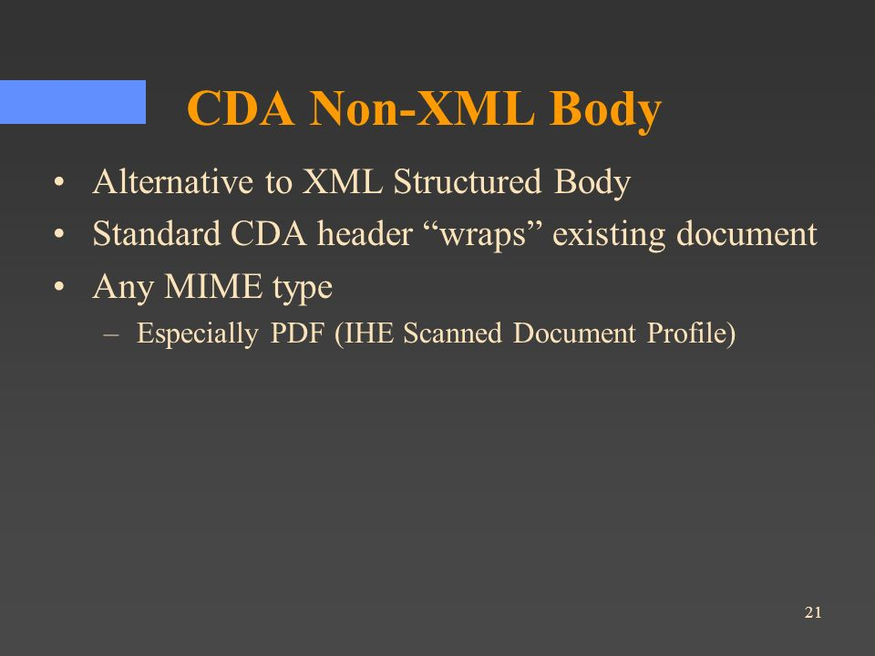 CDA Non-XML Body Alternative to XML Structured Body