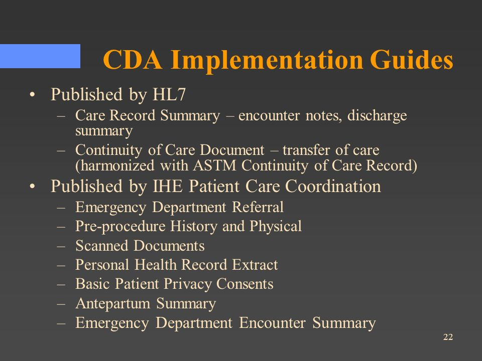 CDA Implementation Guides