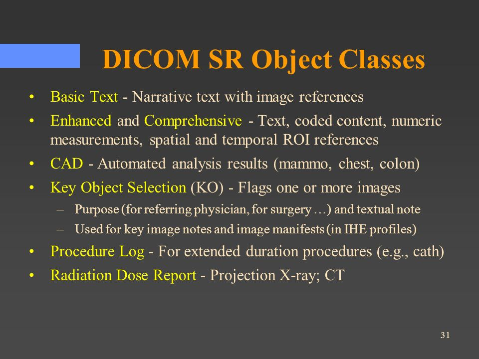 DICOM SR Object Classes