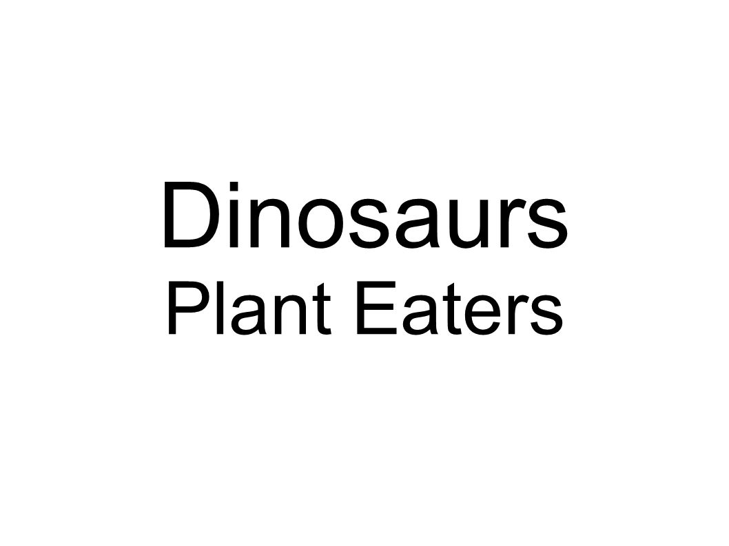 Dinosaurs Plant Eaters