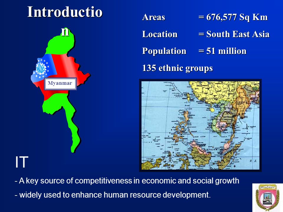 Introduction IT Areas = 676,577 Sq Km Location = South East Asia