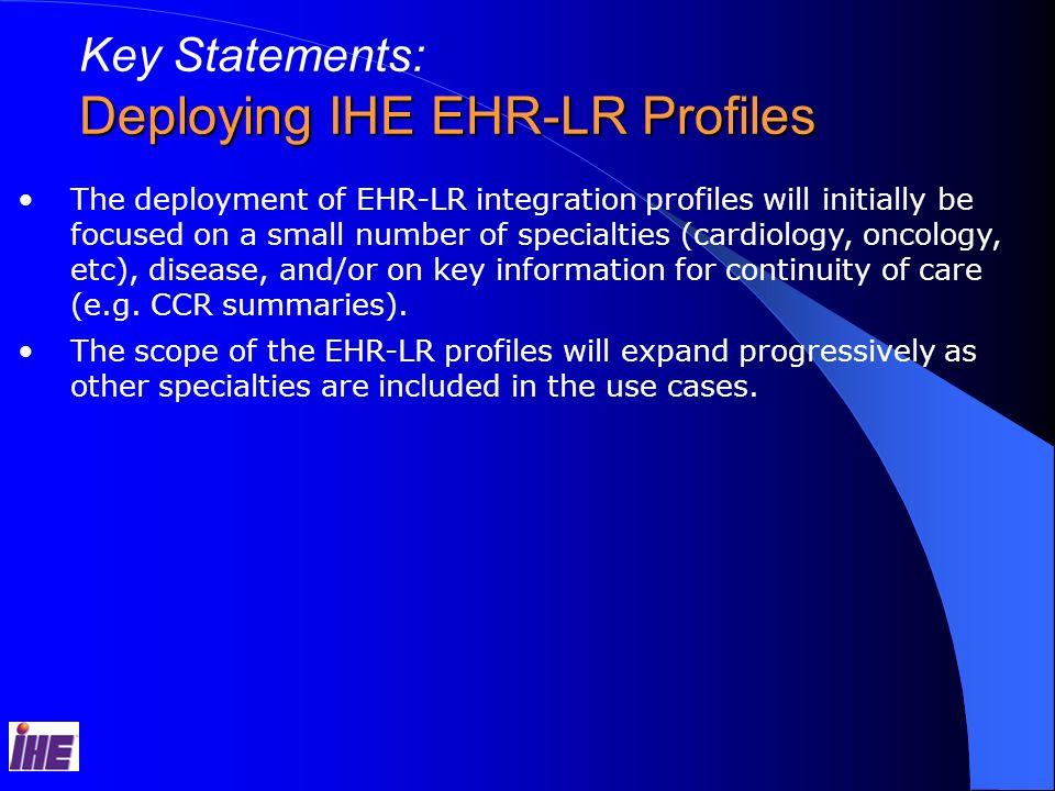 Deploying IHE EHR-LR Profiles