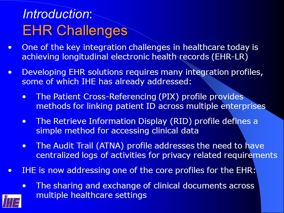 EHR Challenges Introduction: