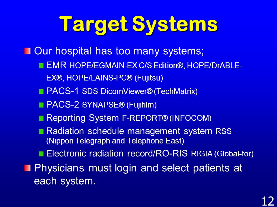 Target Systems Our hospital has too many systems;