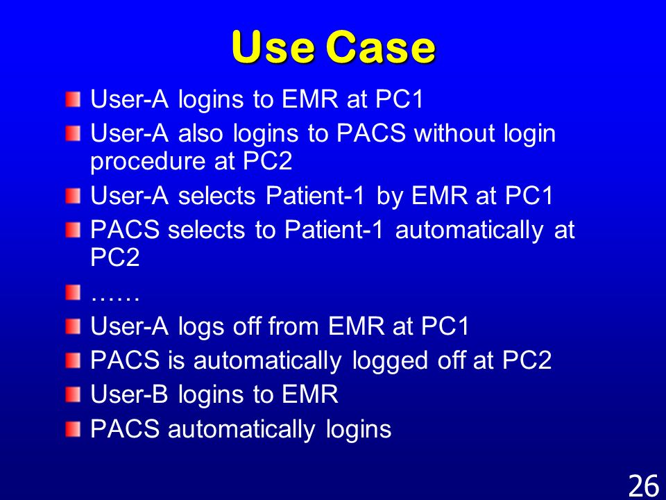 Use Case User-A logins to EMR at PC1