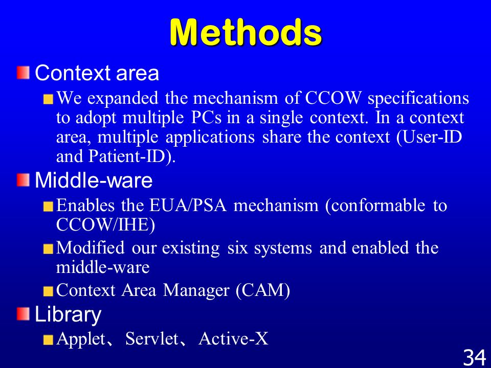 Methods Context area Middle-ware Library