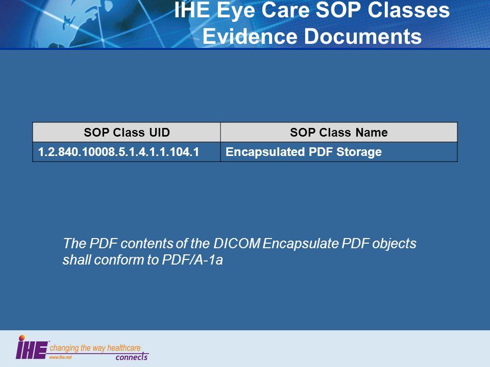 IHE Eye Care SOP Classes Evidence Documents