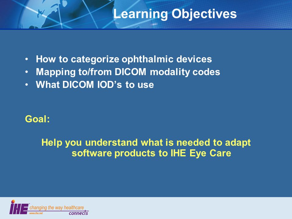 Learning Objectives How to categorize ophthalmic devices