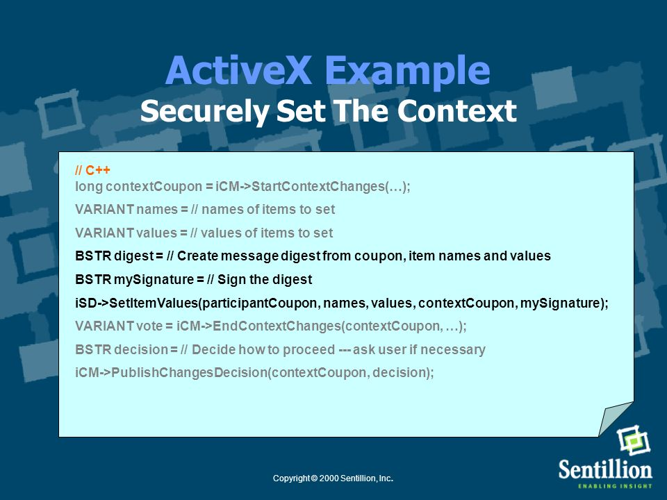 ActiveX Example Securely Set The Context