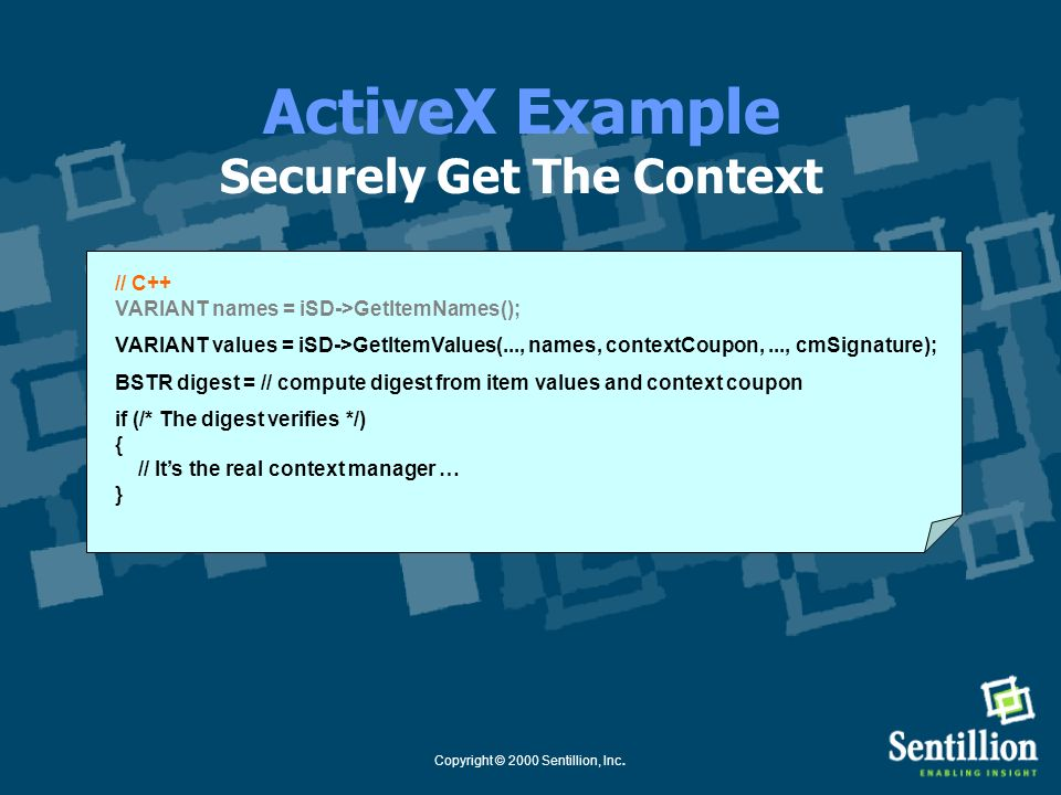 ActiveX Example Securely Get The Context