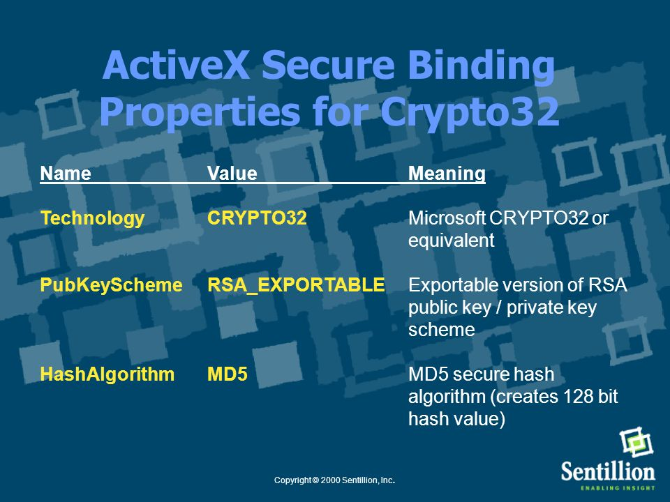 ActiveX Secure Binding Properties for Crypto32