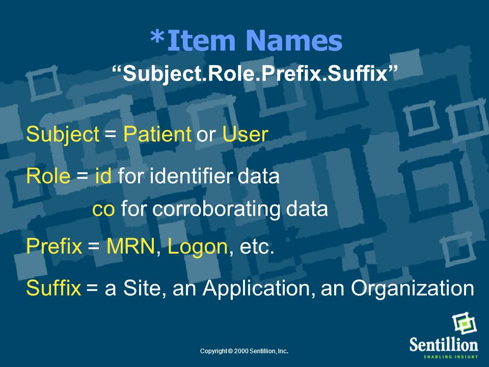 *Item Names Subject.Role.Prefix.Suffix Subject = Patient or User