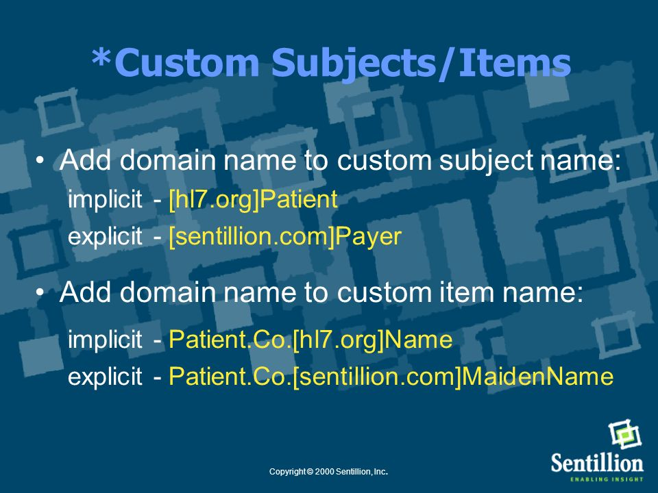 *Custom Subjects/Items