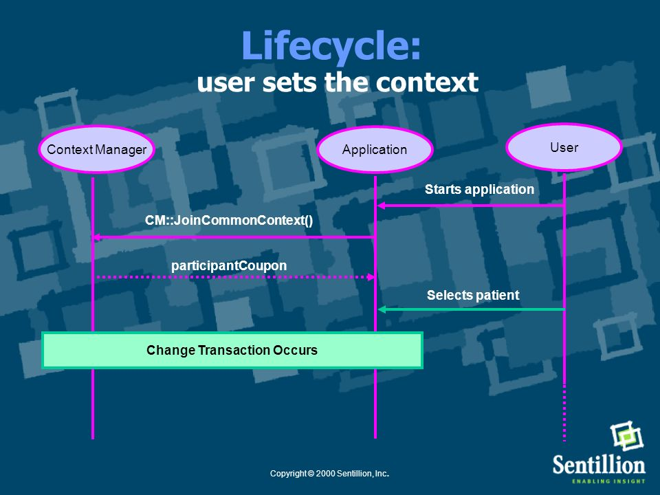 Lifecycle: user sets the context